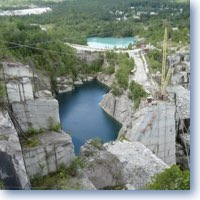 looking down in the lake made by quarrying