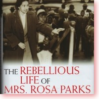 Rebellious Life of Mrs Rosa Parks book cover icon. Rosa leading a march.